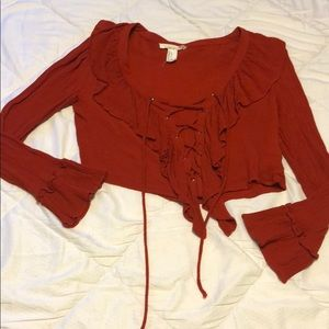 Red/orange lace up crop top!